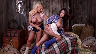 Busty cowgirls Kyra Hot and Susana Alcal carrying-on anent the shed